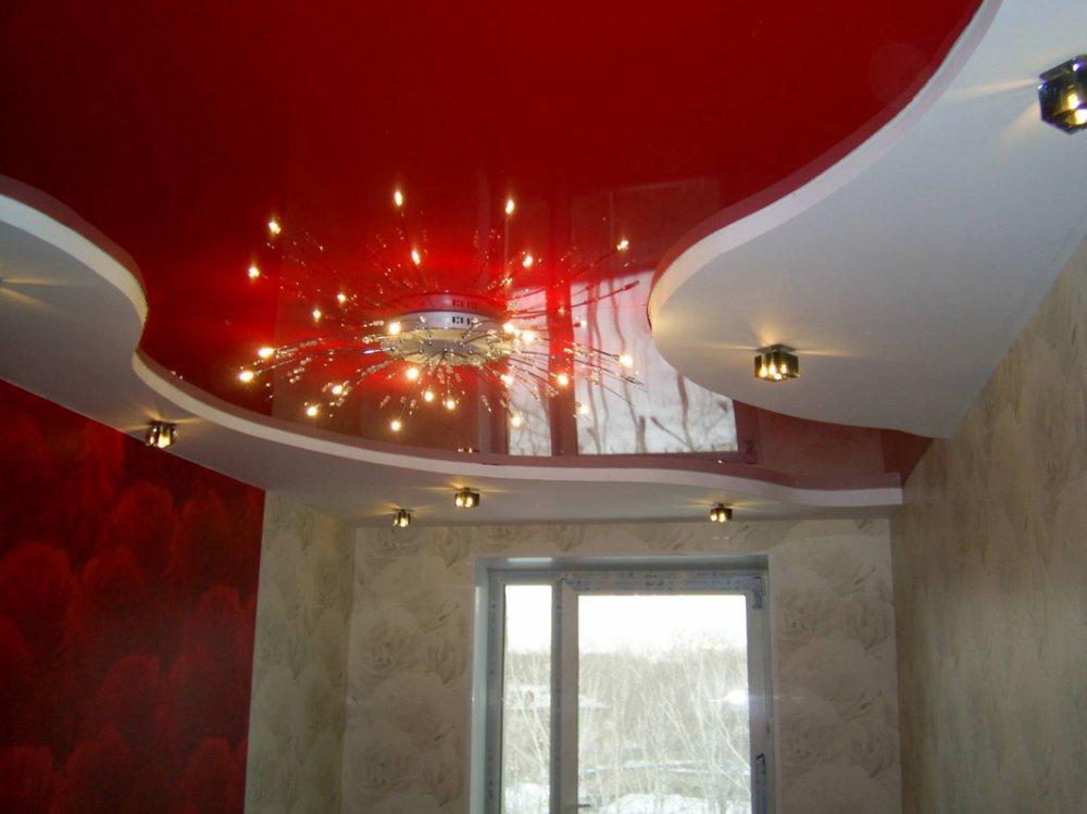 Натяжные потолки с цветами фото для зала двухуровневые