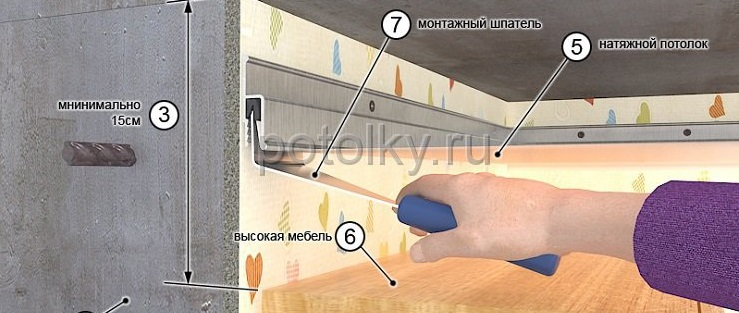 натяжные потолки над высокой мебелью фото